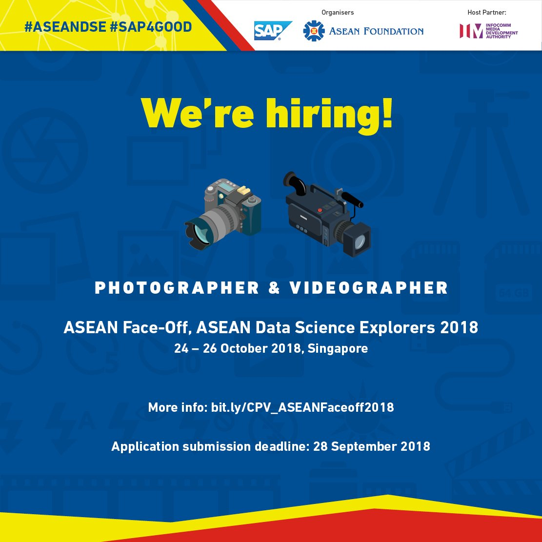 Asean Foundation On Twitter We Re Looking For An Experienced Photographer And Videographer For Aseandse Regional Finals Chosen Candidate Will Be Responsible For Producing And Editing High Quality Photographs Videos Of The