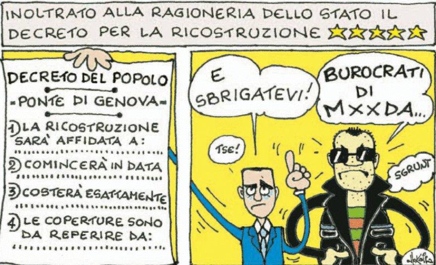 """Caos decreto #Genova, la Ragioneria dice no: """"Mancano le coperture, ci sono spazi bianchi al posto delle cifre"""" #ponteMorandi. La vignetta di @ElleKappa_FP https://t.co/5mugggWrIP"""