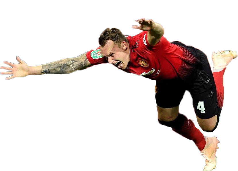 Click to open, swipe up to send Phil Jones flying into space.