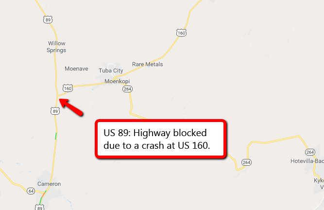 Map Of Highway 89 In Arizona.Arizona Dot On Twitter Us 89 Highway Blocked At Us 160 Due To A