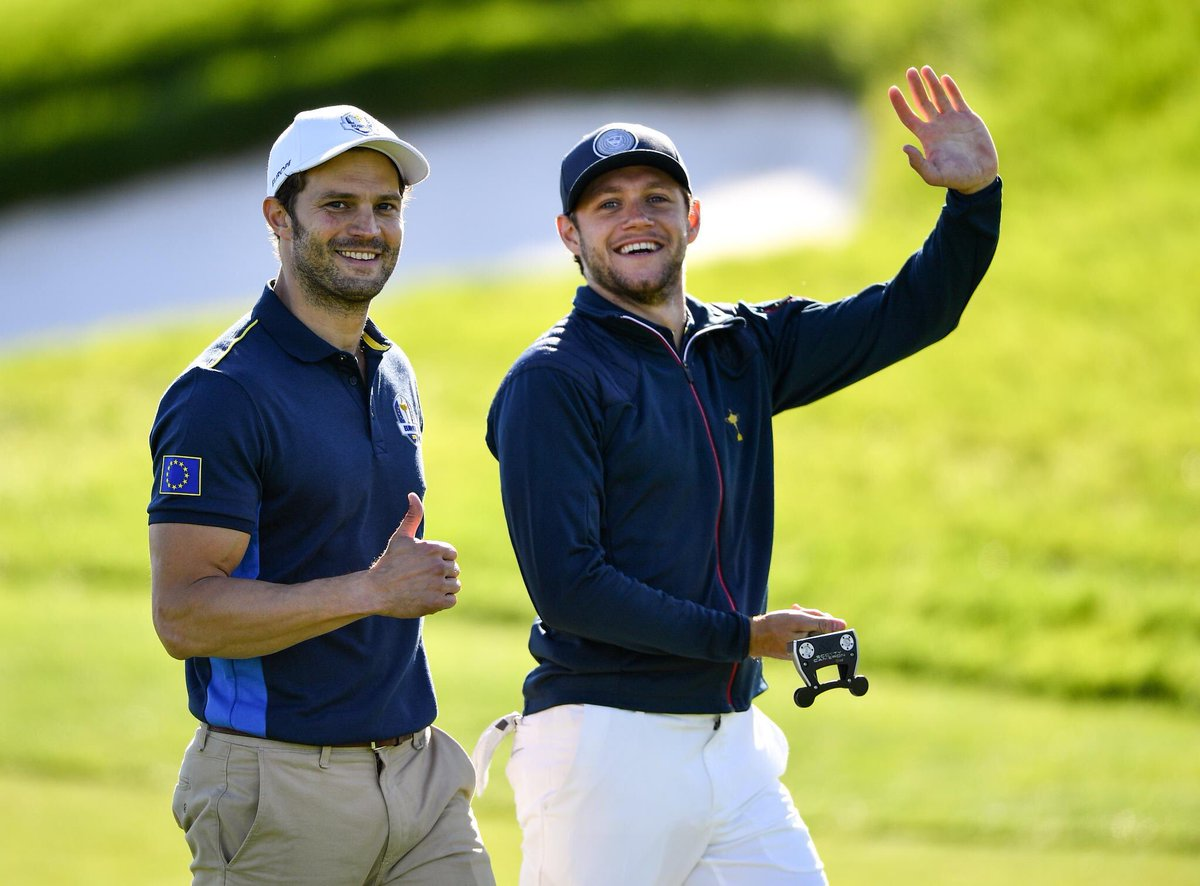 Had a great laugh playing alongside Dornan against Michael and nick yesterday @rydercup . We won our game and played some good stuff .. now it's over to the boys of @RyderCupEurope to take that trophy back . Cmon Europe 🇪🇺🇪🇺🇪🇺🇪🇺