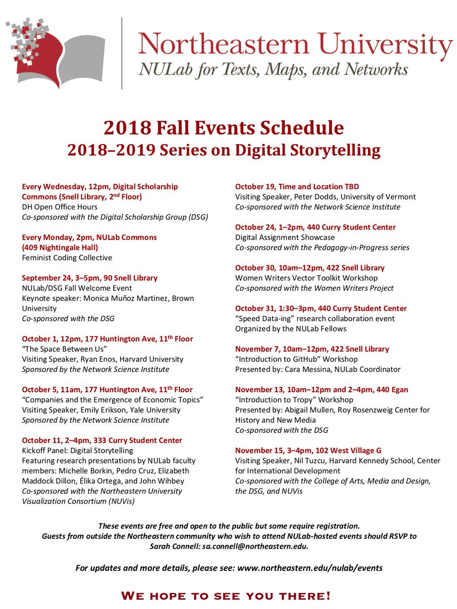 Nulab On Twitter The Nulab Fall Calendar Of Events Is Up This
