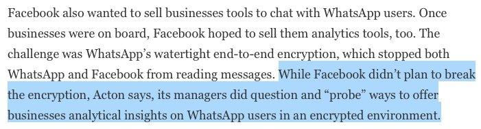 WhatsApp-mede-oprichter Brian Acton (die van de '#deleteFacebook' tweet) zegt tegen @Forbes dat FB manieren zocht om analyses aan te bieden in WhatsApp én dat hij min of meer moest liegen tegen EU—zonder dat hij doorhad forbes.com/sites/parmyols…