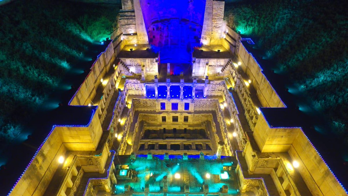 In pics and video: Queen's stepwell in Patan dresses lighting decoration