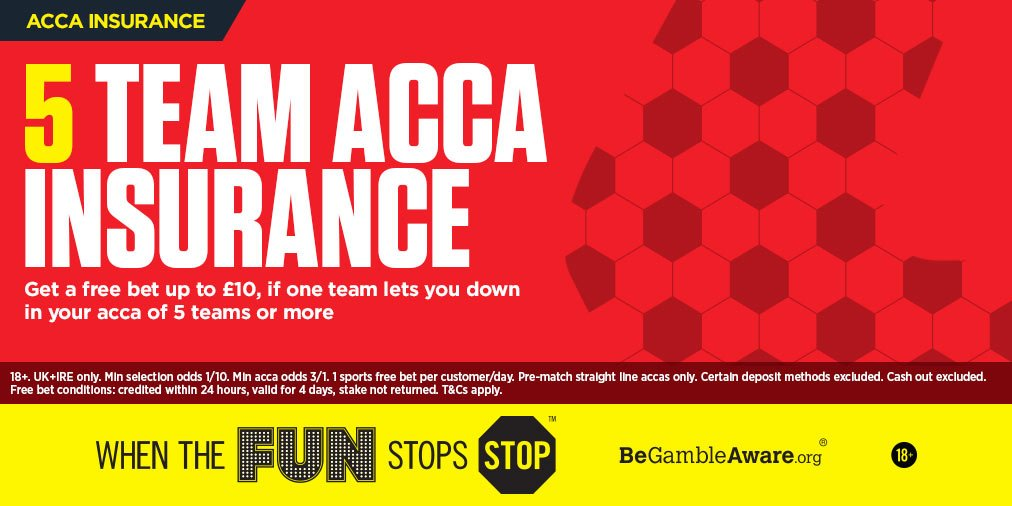 Back a 5+ acca and if one team lets you down, we'll give your stake back as a FREE BET... https://t.co/jAlUbizmlg