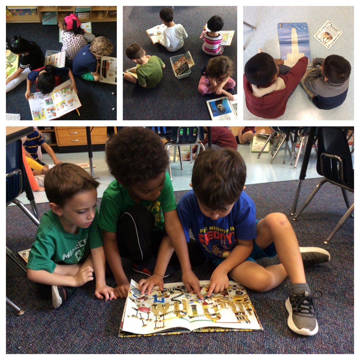 Kinder students engage with nonfiction books independently and then with partners. <a target='_blank' href='http://twitter.com/CampbellAPS'>@CampbellAPS</a> <a target='_blank' href='https://t.co/0rXX1F9yfL'>https://t.co/0rXX1F9yfL</a>