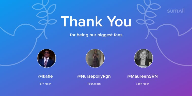 Our biggest fans this week: @lkafle, @NursepollyRgn, @MaureenSRN. Thank you! via https://t.co/XpuXtN8U2O https://t.co/YuxTwz9wcd