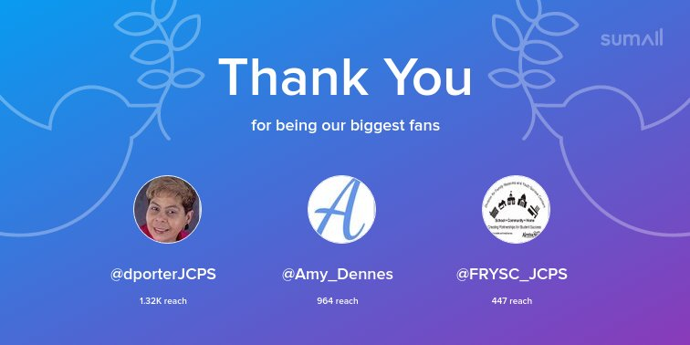 Our biggest fans this week: @dporterJCPS, @Amy_Dennes, @FRYSC_JCPS. Thank you! via sumall.com/thankyou?utm_s…