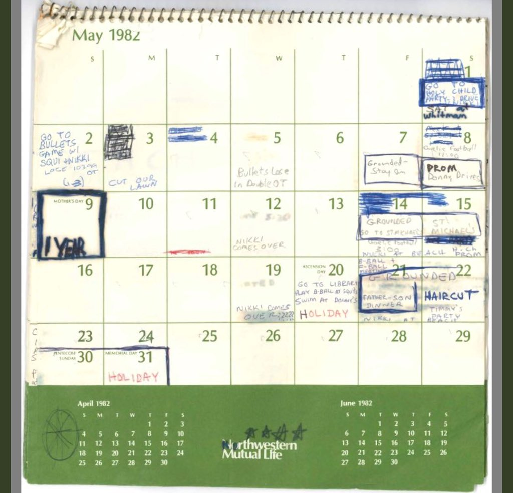 Thread By Kelly2277 BREAKING Kavanaugh 1982 Calendar Obtained By