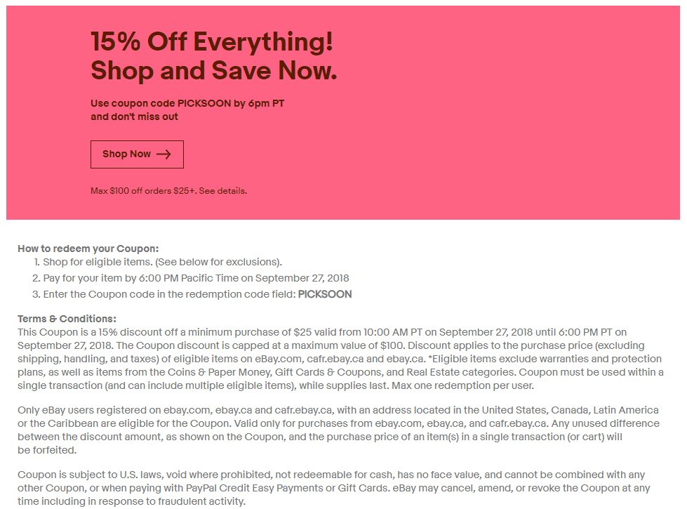 Ebay 15 Off 25 Purchases Up To 100 Savings Com Ca Sept 27