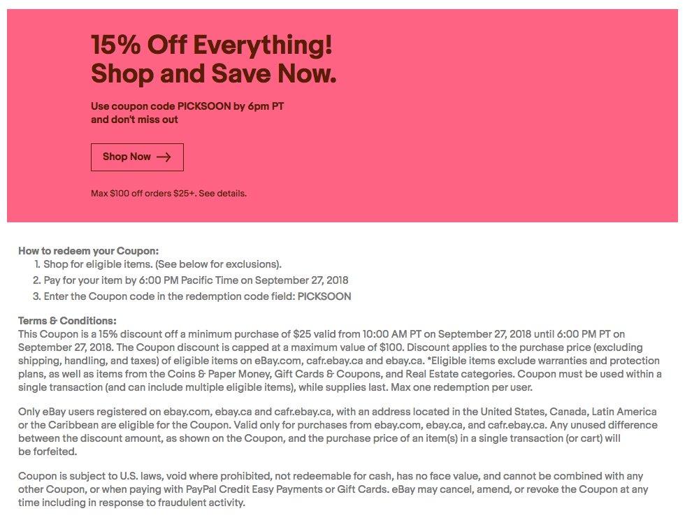 Lbabinz On Twitter 15 Off Ebay Tomorrow Only Sept 27 W Code Picksoon Minimum Purchase Of 25 Max Savings 100 Https T Co 4cflyrsesm Https T Co Q5nxx9c3cj