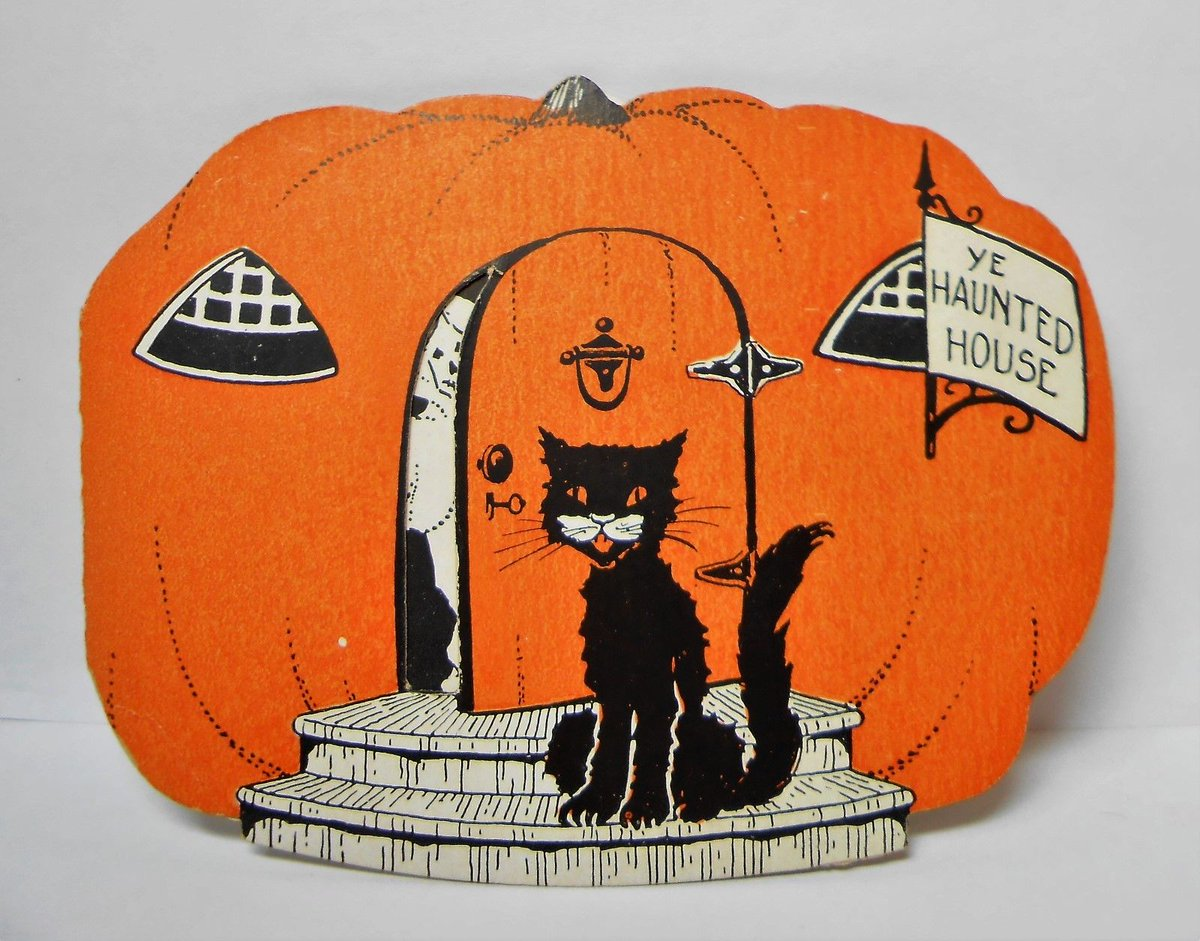 vintage halloween on twitter spotted at ebay vintage halloween cat invitation sold for 431 vintagehalloween