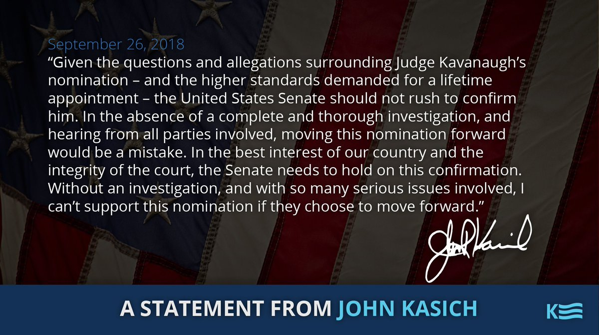 My statement on Judge #Kavanaugh's nomination to the U.S. Supreme Court: