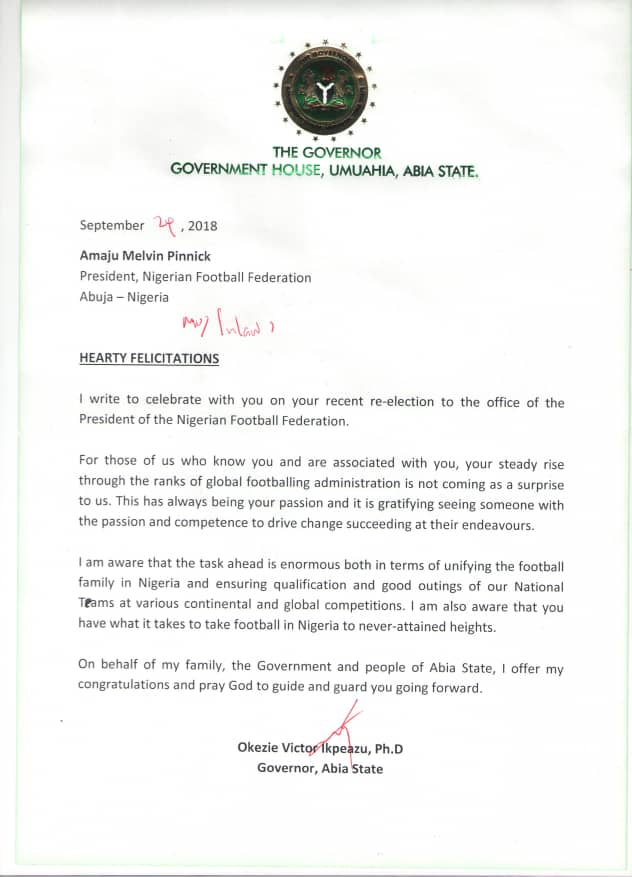 pens a letter of congratulations to the re elected thenff president pinnickamaju urging him and the board to work hard to take nigeria football to