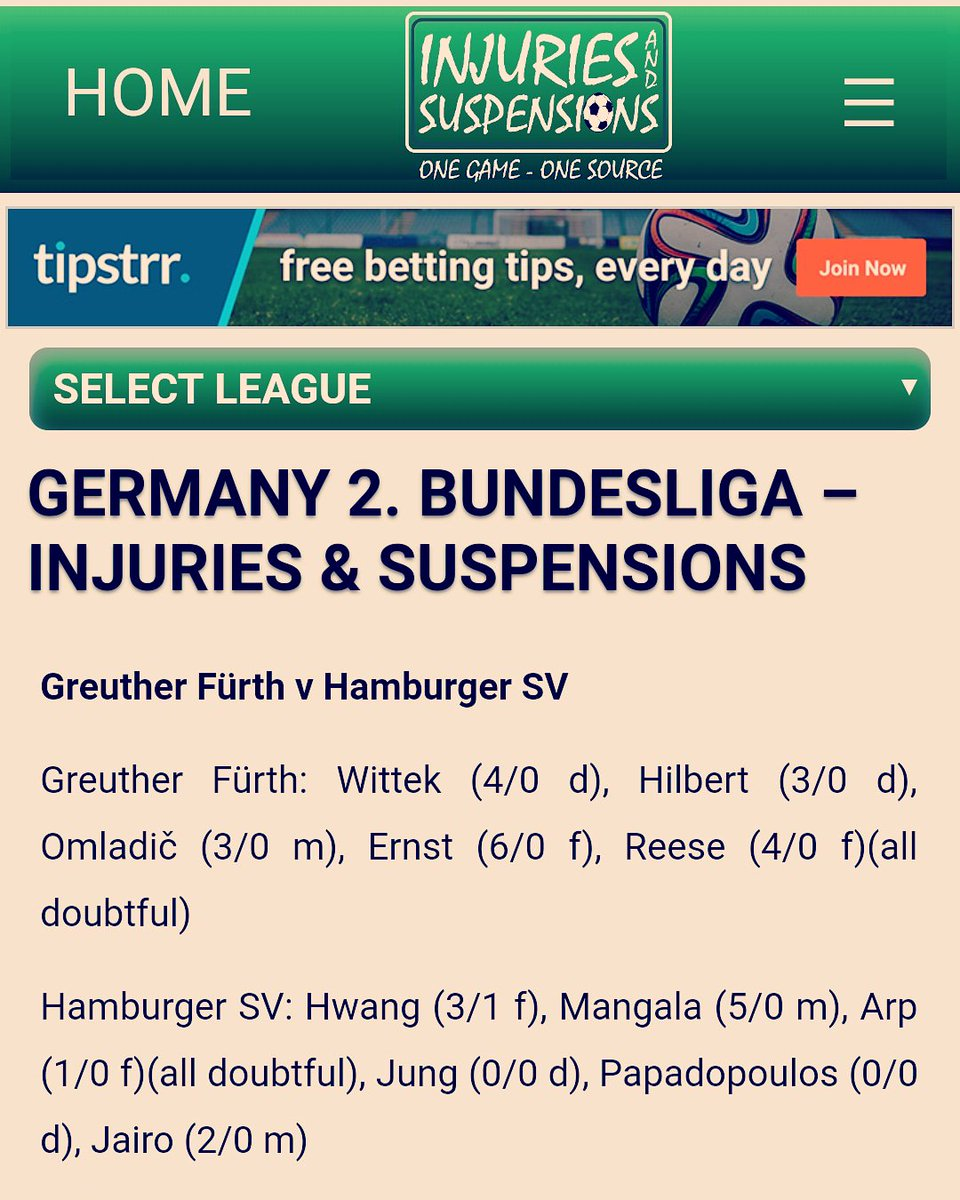 betting injuries and suspensions
