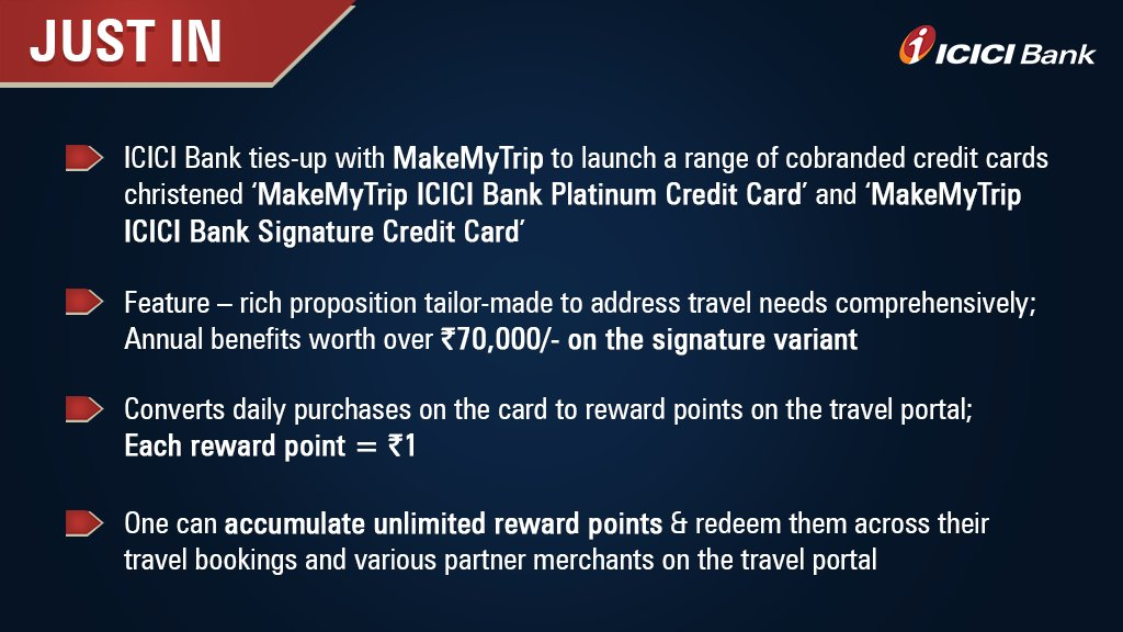 """ICICI Bank ar Twitter: """"#Breaking: Bringing joy to travel enthusiasts today  on the occasion of #WorldTourismDay, #ICICIBank announces its tie-up with @ makemytrip to launch a range of co-branded credit cards.  #MakeMyTripICICIBankCards… https://t.co ..."""
