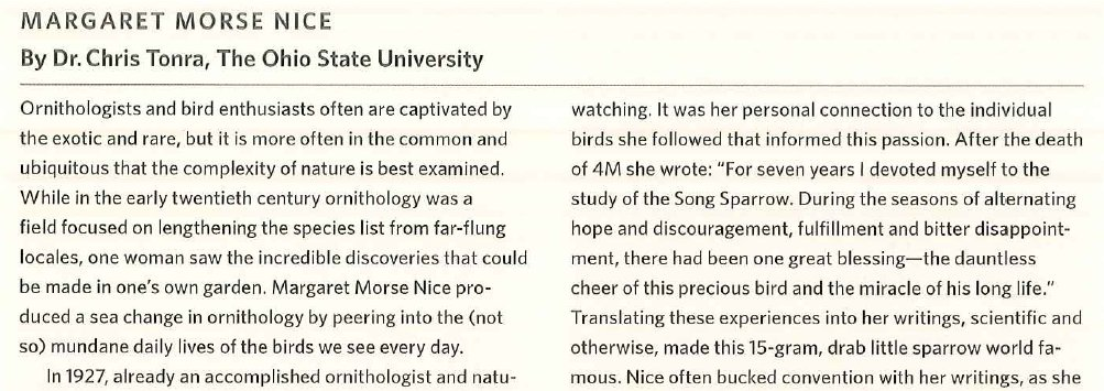 Honored to make this small contribution on a giant in #ornithology, and one of my #science heroes, to the new textbook, Ornithology Foundation, Analysis, and Application. She is in my mind with every #SongSparrow song I hear on the #Olentangy. Long live 4M!! #WomeninSTEM