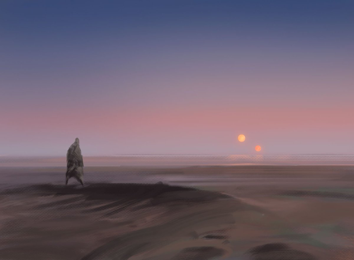 Alternate sketch for Endless Sands. I really, really wanted to do a Star Wars homage piece.