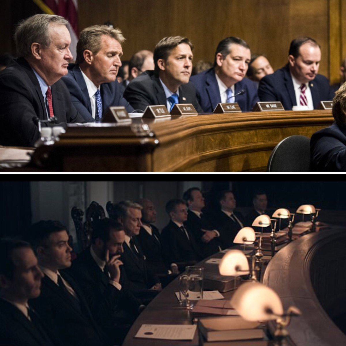 One of these is from today's hearing. The other is a still from The Handmaid's Tale.