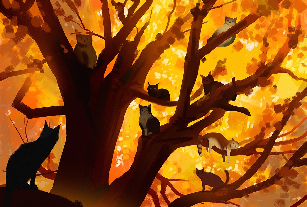 RT @snatti: autumn cats #cat #autumn #art #nature https://t.co/W2l3ulj3ac