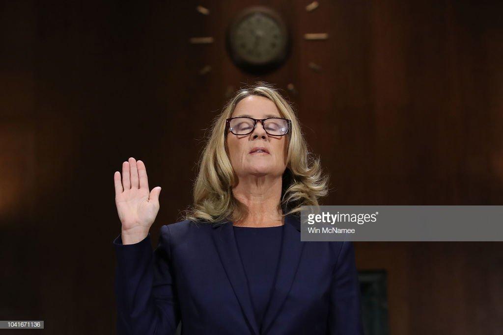 Dr. Christine Blasey Ford is sworn in during a Senate Judiciary Committee hearing in Washington, D.C. #KavanaughHearings 📷: @WinMc