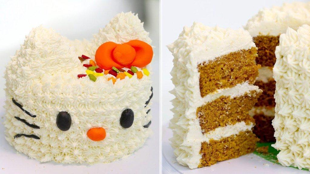 Hello Kitty Pumpkin Spice Cake with Cream Cheese Frosting | Hello Kitty CakeRecipe https://t.co/dJUMdddAl9 https://t.co/DBSm49EkaL