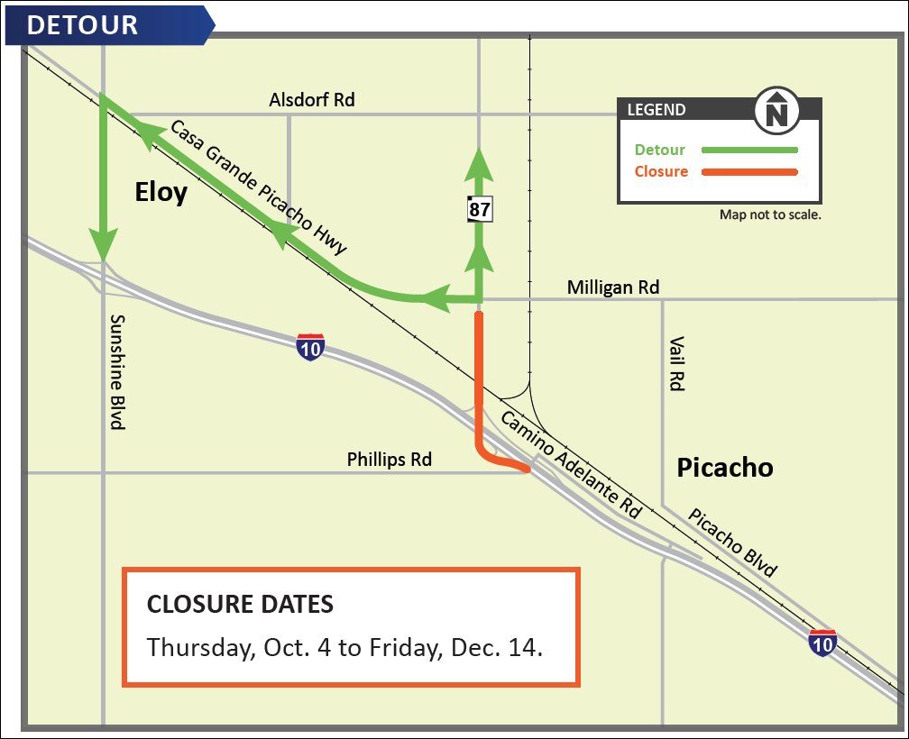 Map Of Highway 87 Arizona.Arizona Dot On Twitter State Route 87 Will Close At Interstate 10