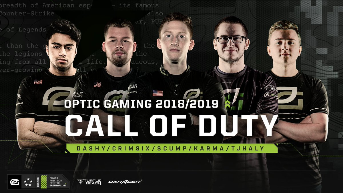 We are the winningest organization in Call of Duty history Today marks the next chapter in our legacy Welcome to our Black Ops 4 Roster Seth '' Abner Ian '' Porter Brandon '' Otell Thomas '' Haly Damon '' Barlow #GREENWALL