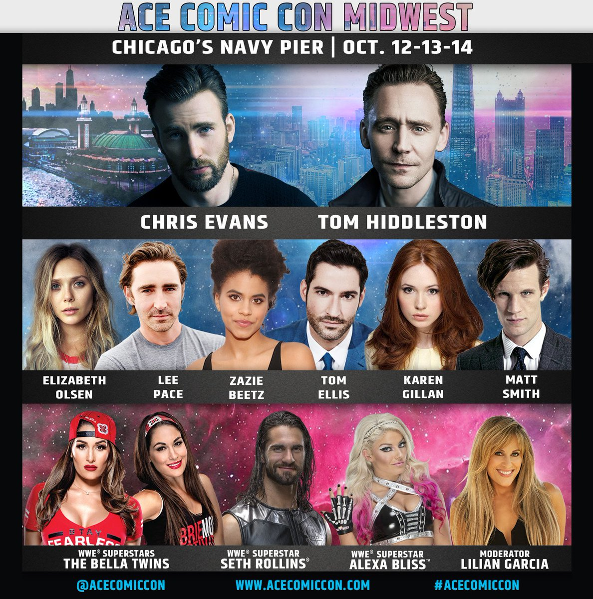 Acecomiccon on twitter the lineup for ace comic con midwest is meet your favorite marvel wwe doctor who superstars and more at chicagos navy pier october 12 13 14 vip packages photo ops autographs m4hsunfo
