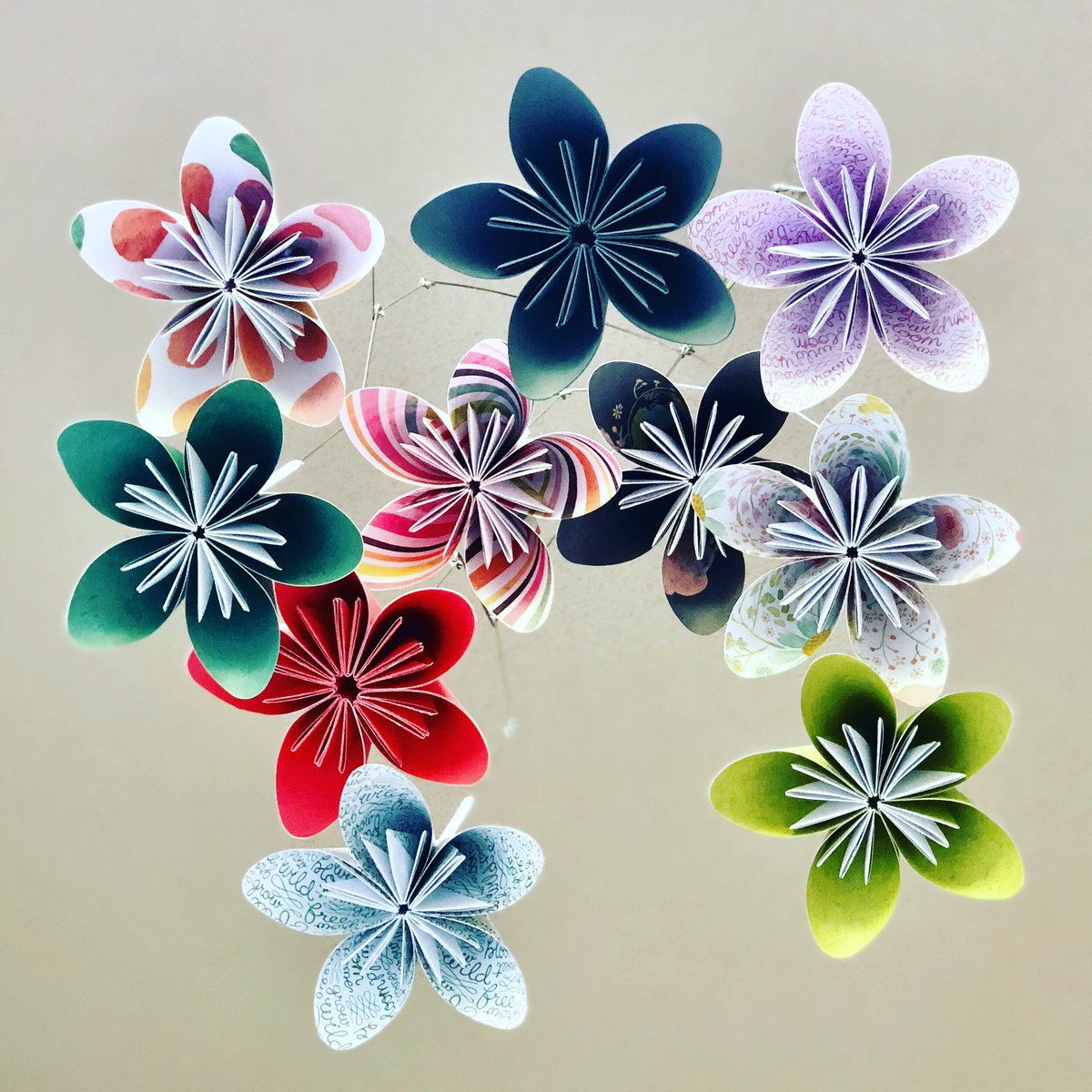 Katiemadeorigami on jumpic things are starting to get back to normal after hurricane florence this custom flower mobile mightylinksfo