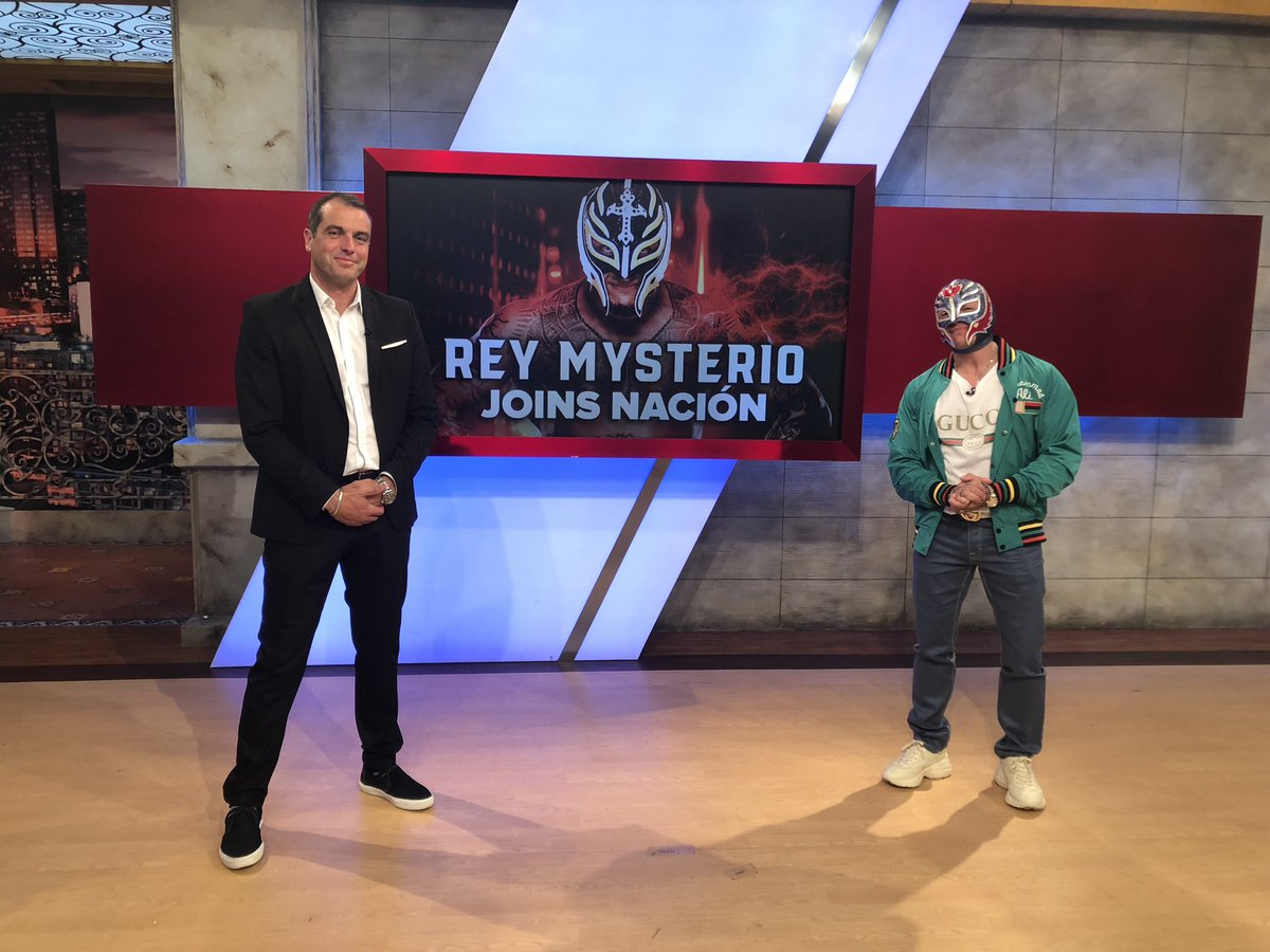 Tune in to Nación to watch the one and only @reymysterio chat with our @mbretosESPN! #reymysterio #wwe