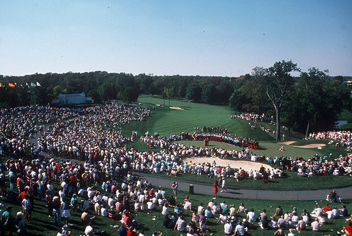 With just a few hours till @rydercup competition kicks off, were thinking back to the 1987 matches hosted on our home turf! Things sure do look a bit different 31 years later at Muirfield Village Golf Club! #ThrowbackThursday