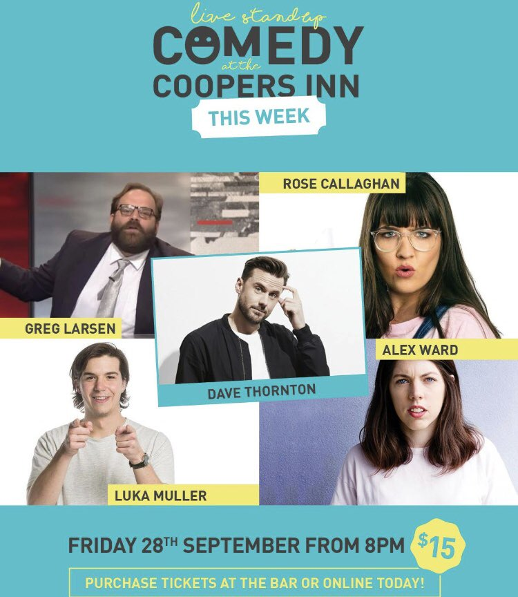 Come see me host a sick lineup @coopersinncom in the city at 8PM!   If that's not enough notice, get there for 10PM to see @TimHewitt hosting a fucked footy show special for the long weekend 🏈