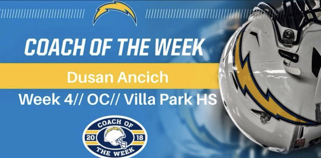 The Chargers stopped by to recognize our very own Coach