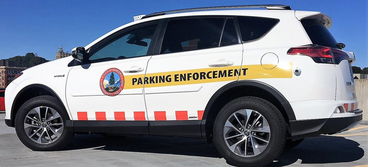 DOWNTOWN PARKING: new parking enforcement program starts Monday, October 1...same rules/same timed spaces - new patrol car/new enforcement technique…one citation still waived per every 120 day period - FMI: bangormaine.gov or parkbangor.com #heybangor