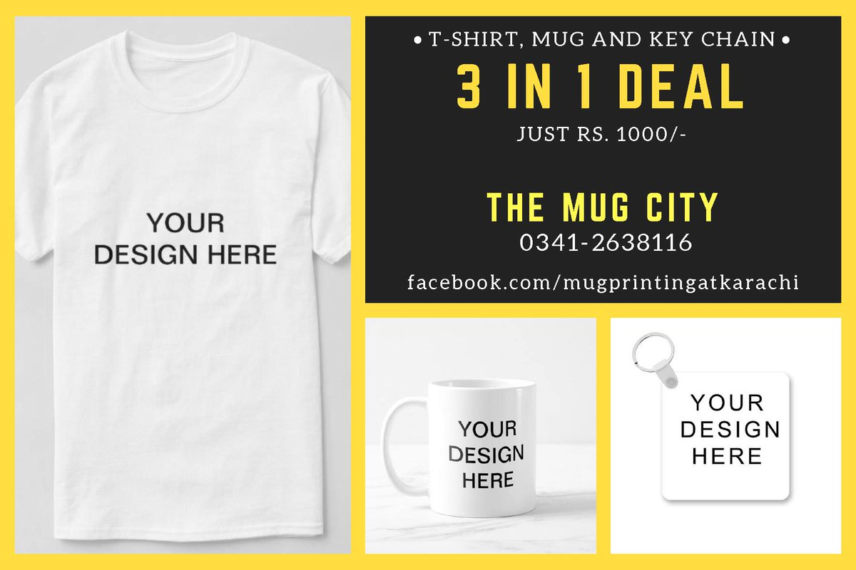 3 IN 1 DEAL---- TSHIRT + MUG + KEYCHAIN JUST RS. 1000/-  Best Price | High Quality Printing | Nationwide Delivery Call/WhatsApp for Order : 0341-2638116  #themugcity #3IN1DEAL #tshirtprinting #mugprinting #daraz #hot #mugprintingkarachi #keychainprinting #customizeprinting #dealpic.twitter.com/lfuLWOhipm