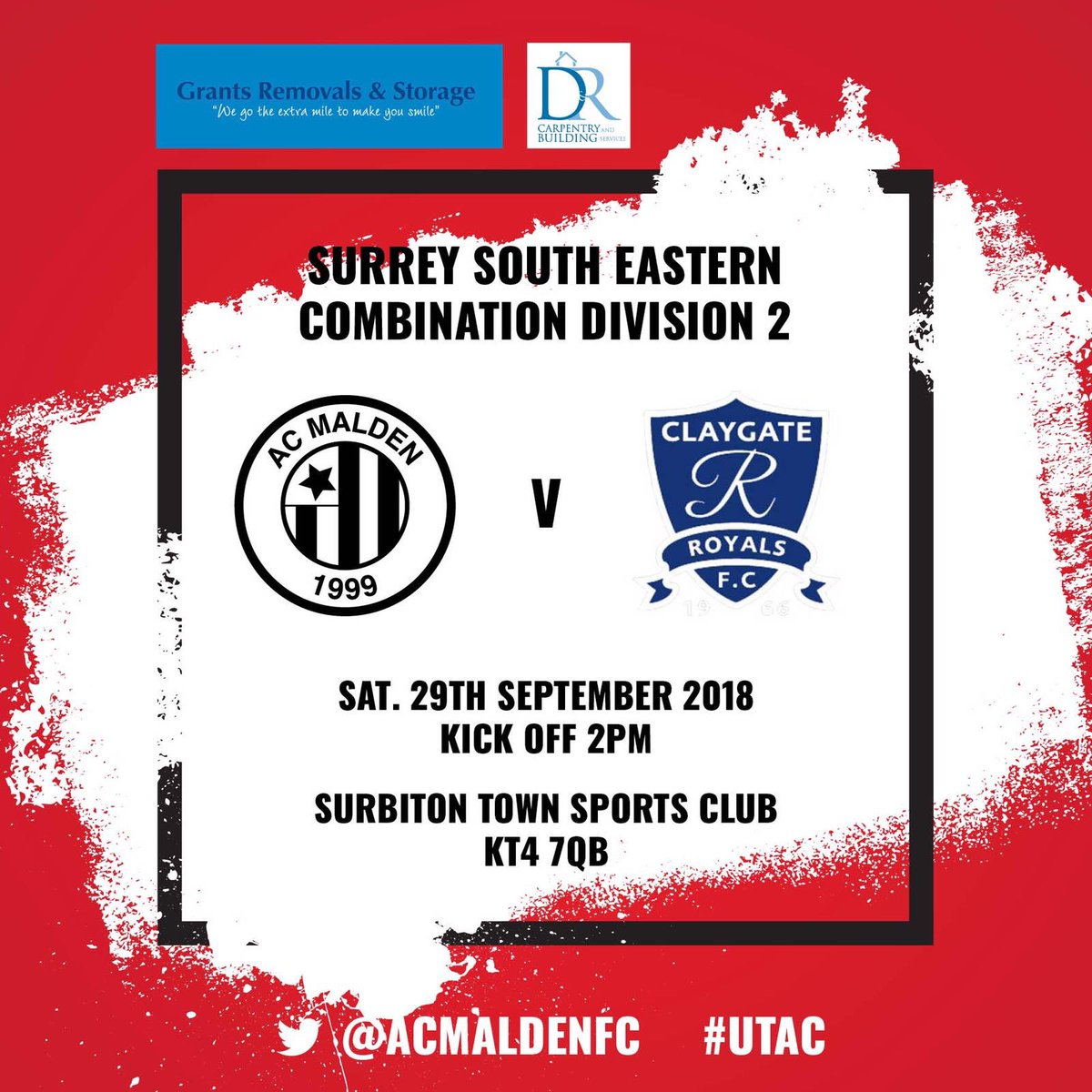 This week we aim to get back to winning ways against our good friends @ClaygateRoyals1  2PM KO at home #UTAC 🔴⚫️🔴⚫️🔴