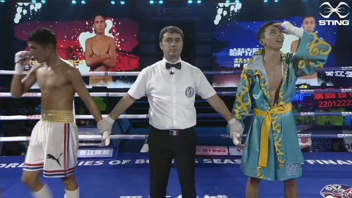 Saken Bibossinov has got the win for the@astana_arlans in the first bout against Jorge Griñan Merencio of the @DomadoresCuba so we are now all level again at 3-3.  #WSB8 #Boxing https://t.co/TO7QKEEvHL