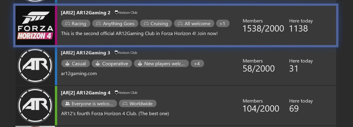 Heres how you can join the AR12Gaming clubs. Go to your Xbox Dashboard, Go to Community and then Clubs on Xbox. Search for AR12Gaming. Then look for the the Horizon Clubs with a limit of 2000 Members! AR12Gaming 2, 3 and 4 still have room!