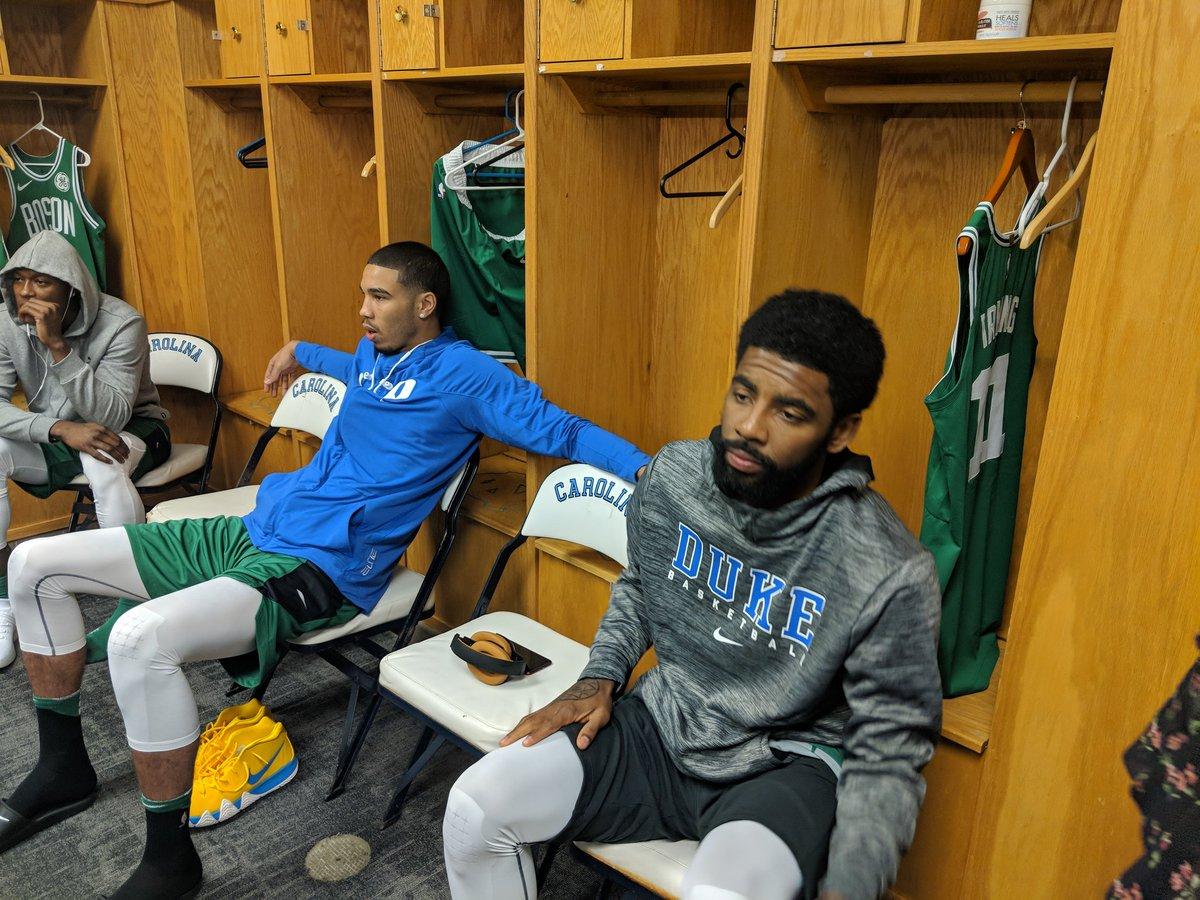 Kyrie and Jayson Tatum come to UNC representing #Celtics