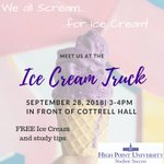 Come find the Ice Cream Truck today in front of Cottrell Hall for Ice Cream and Study Tips. See you there around 3:00pm. #HPU365 #HU2022