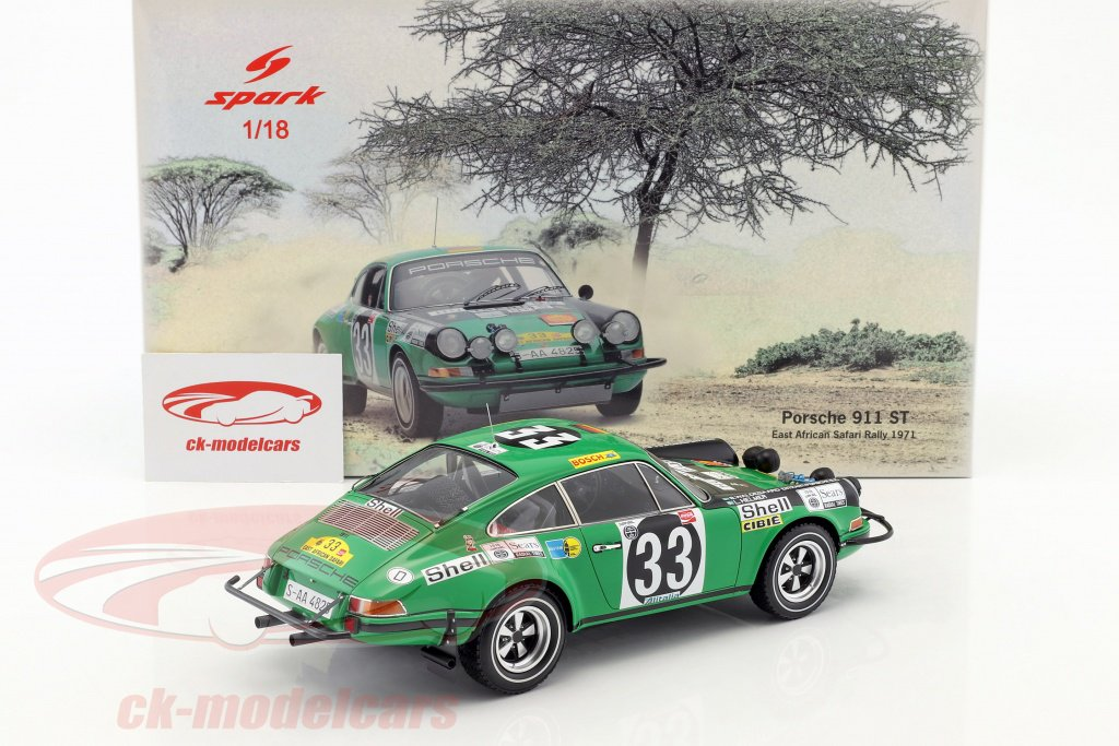 Porsche 911 ST  East African Safari Rallye 1971  Björn Waldegard  1:18 Spark NEU