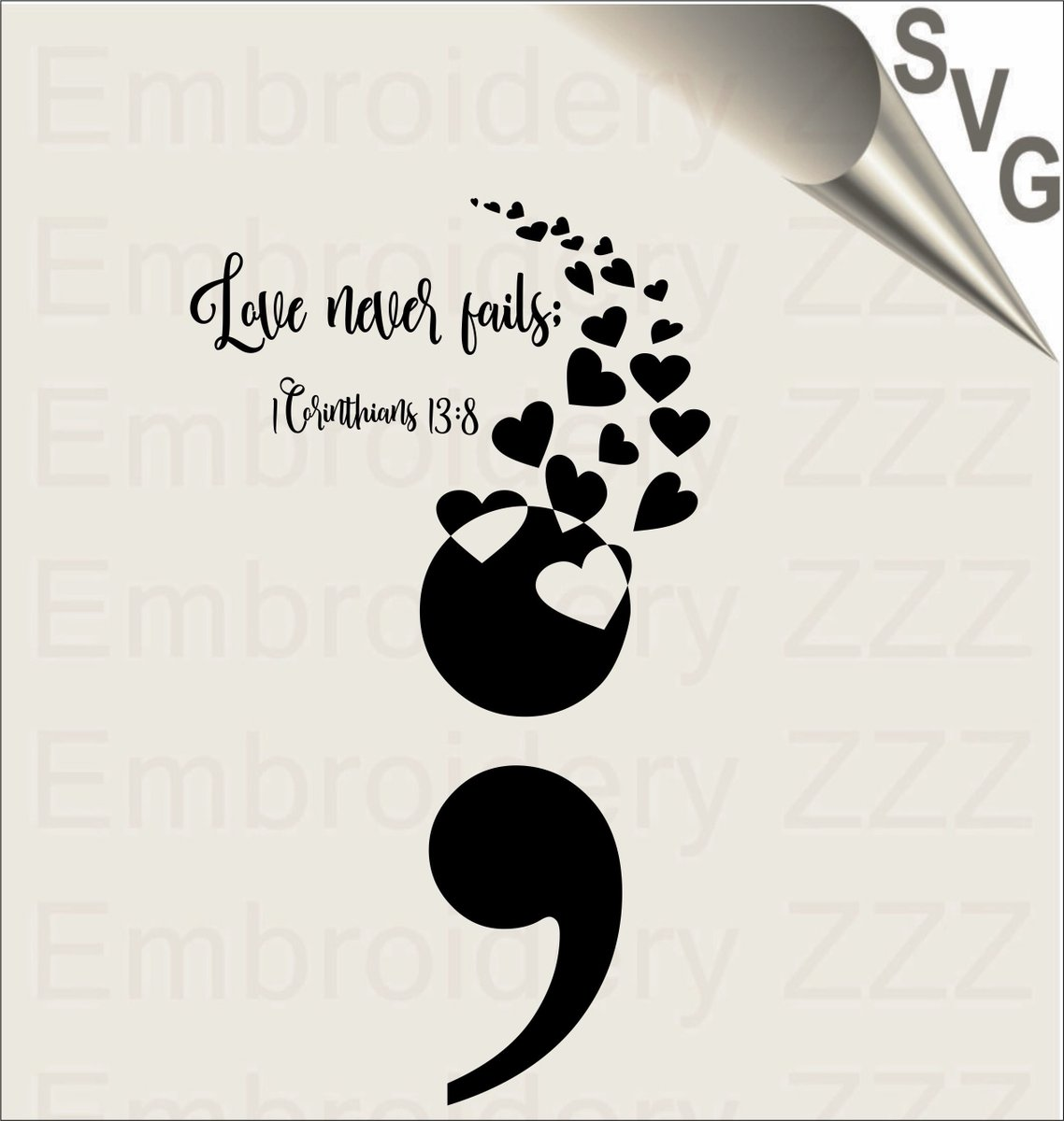 Embroidery Zone No Twitter Excited To Share The Latest Addition To My Etsy Shop Suicide Prevention Svg Semicolon Printable Hearts Spray Svg Love Never Fails Svg Suicide Awareness Svg Semi Colon Vector