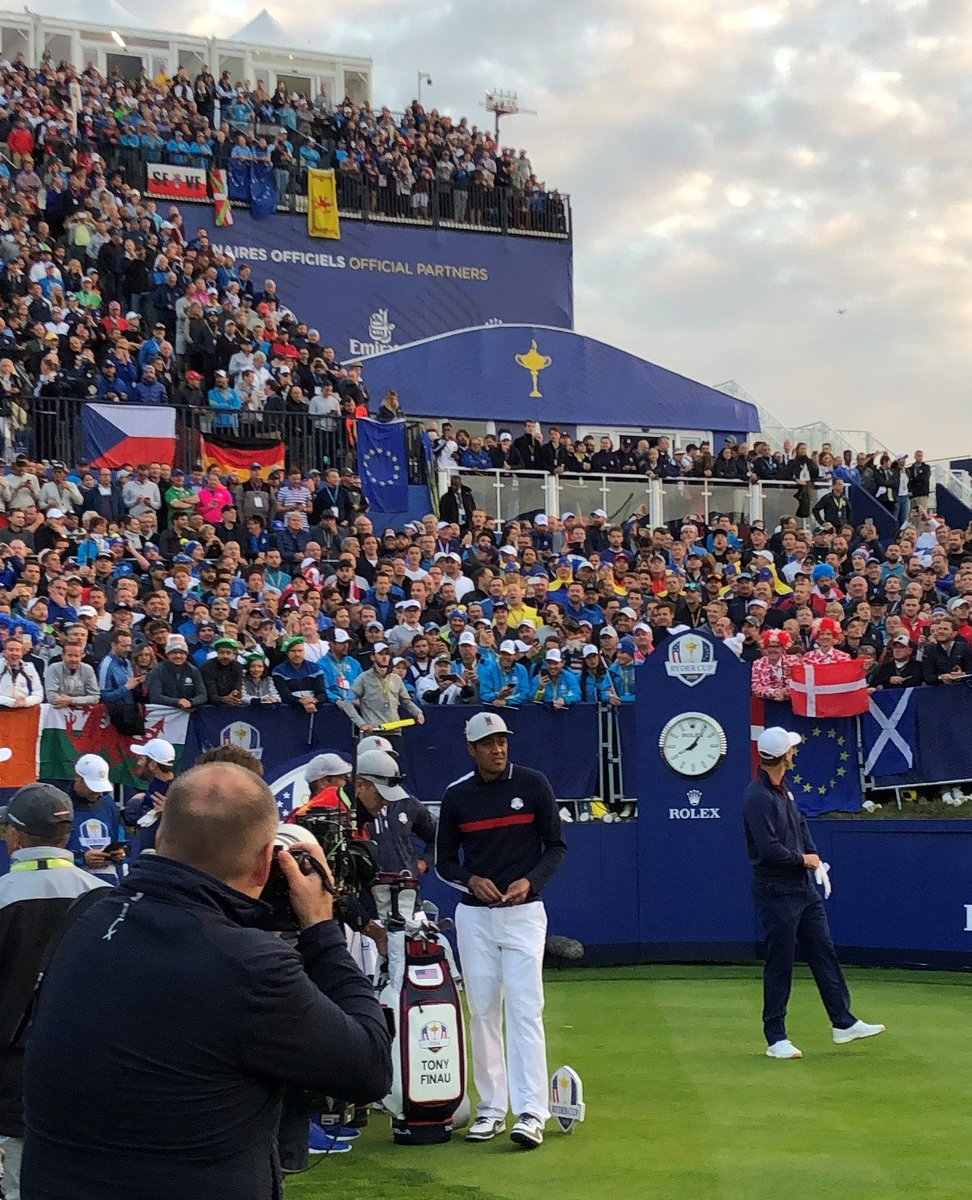 Seeing @tonyfinaugolf on 1st tee @rydercup reminded me how long & arduous his journey from humble beginnings to hitting the first shot in Paris has been. Amid the pressure, I hope he can reflect on all he has accomplished. @BKoepka-Finau leading off USA fourballs again Saturday.