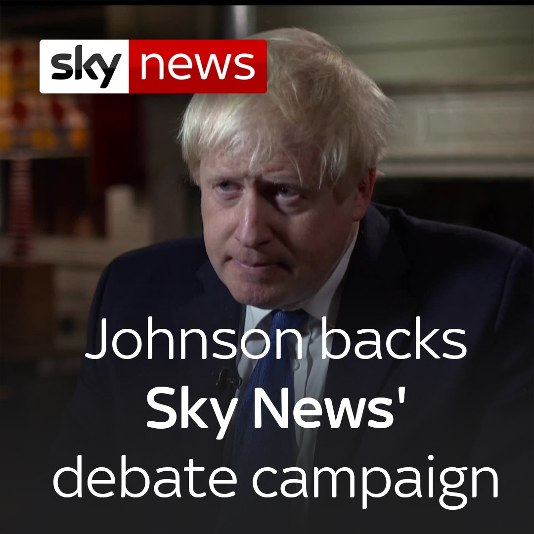 """""""My feeling is that they are essential and the public does need to see interchange between their potential leaders"""" - Former foreign secretary Boris Johnson has backed Sky News' #MakeDebatesHappen campaign.  For more, head here: https://trib.al/dCaSvXI"""