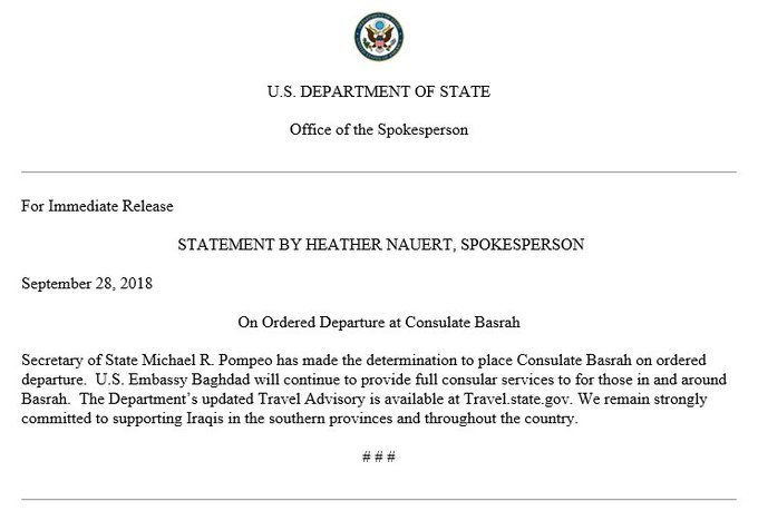 A statement by Spokesperson Heather Nauert on Ordered Departure at Consulate Basrah.