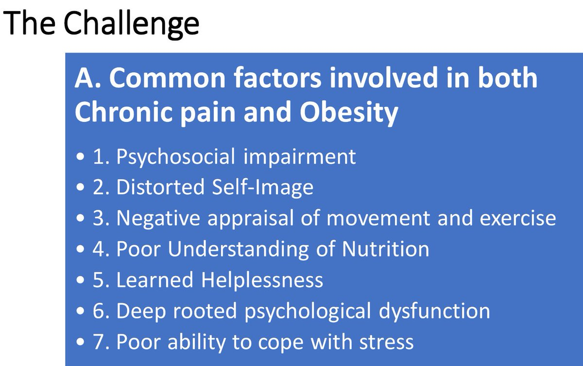 Amazing talk by @JDChelettePT addressing the commonalities between #ChronicPain & #Obesity  #OPTimize2018 #OPTA