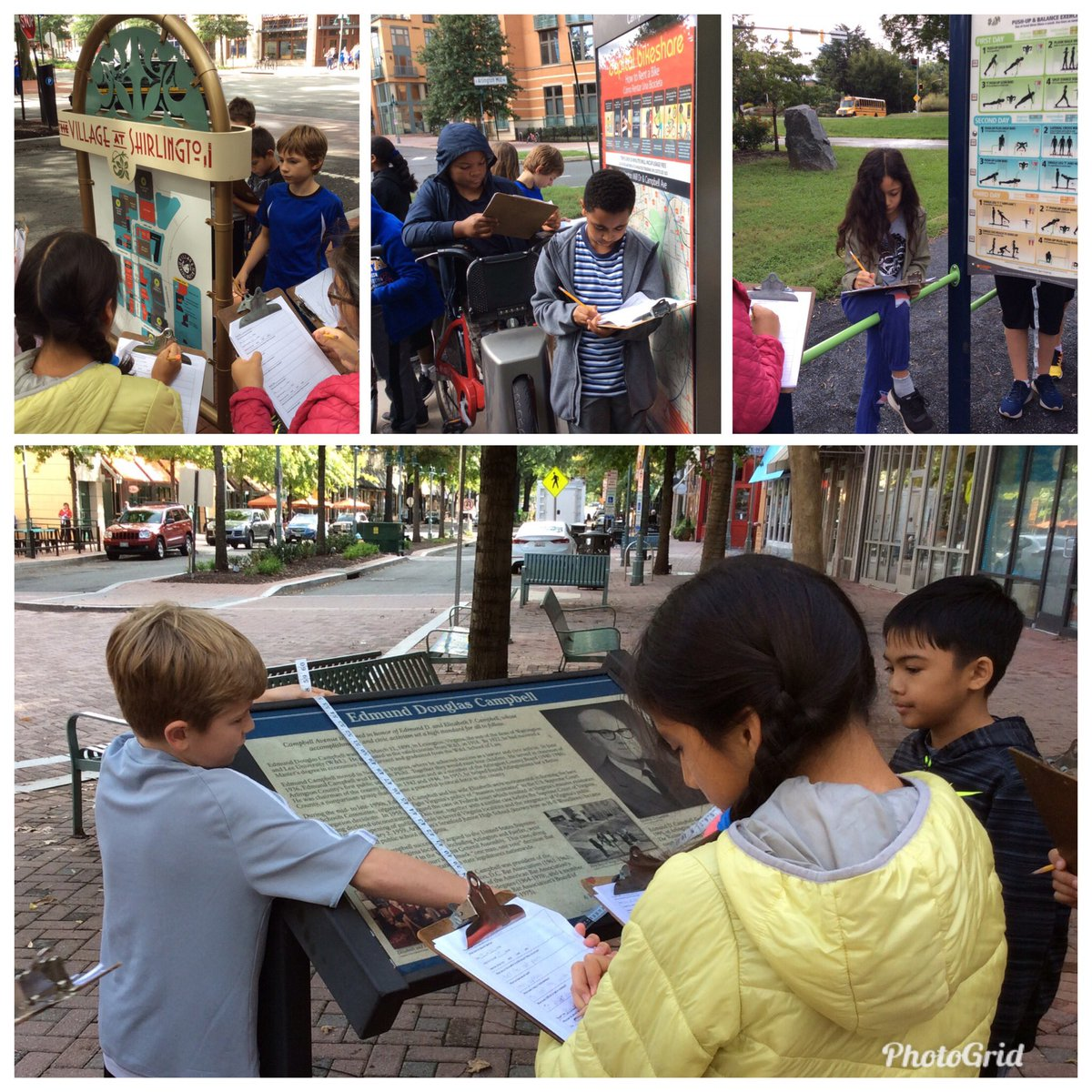 During our fieldwork in Shirlington, 5th graders <a target='_blank' href='http://twitter.com/CampbellAPS'>@CampbellAPS</a> evaluated placards, looking at their dimensions, purpose, and text features so they will become experts when deciding how to display information in our outdoor classroom <a target='_blank' href='http://twitter.com/ELeducation'>@ELeducation</a> <a target='_blank' href='https://t.co/0GSOkii4FL'>https://t.co/0GSOkii4FL</a>