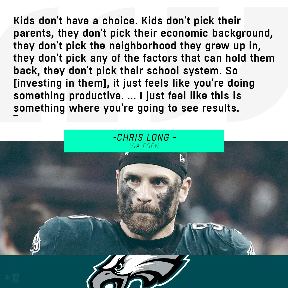"""Chris Long (@JOEL9ONE) is pledging a quarter of his 2018 salary to launch the """"First Quarter for Literacy"""" drive to help increase early literacy among young children. https://t.co/nbwLn820rG"""