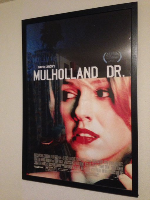 Happy birthday to my Dad and Naomi Watts!! My framed Mulholland Drive one sheet...